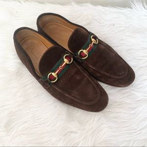 Gucci Brown Leather Suede Horsebit Blake Loafer 6